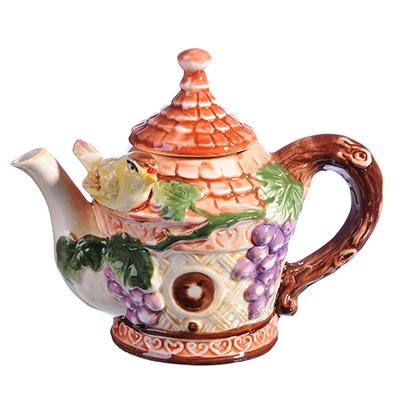 """824-879 Домики Чайник заварочный, керамика, 300мл, """"Виноградная лоза"""""""