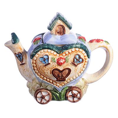 "824-884 Домики Чайник заварочный, керамика, 600мл, ""Домик-сердце"""