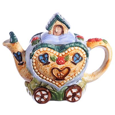 "824-885 Домики Чайник заварочный, керамика, 300мл, ""Домик-сердце"""