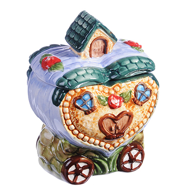 "824-893 Домики Банка для сыпучих продуктов, керамика, 300мл, ""Домик-сердце"""