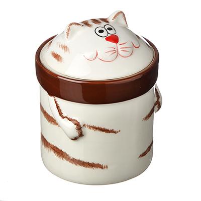824-894 MILLIMI Веселый кот Банка для сыпучих продуктов, 390мл, керамика