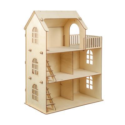267-561 ПОЛЛИ Дом для кукол, без мебели, 59 дет., фанера, упак.49х20х38см, ДК-1-004