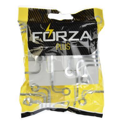 904-133 FORZA МОДЕРН Выключатель двухклавишный с подсветкой цвет белый 10А 250В, пластик ABS