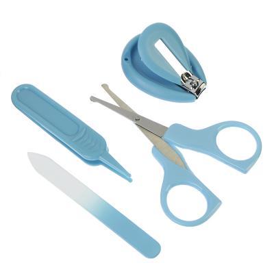 350-031 Набор маникюрный 4 пр. (пинцет, кусачки, пилка, ножницы), пластик, стекло, нерж.сталь, 10х6см,2 цв
