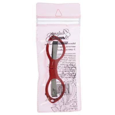350-033 Ножницы маникюрные для ногтей, металл, пластик, 3 цвета, 8,8х2,5см