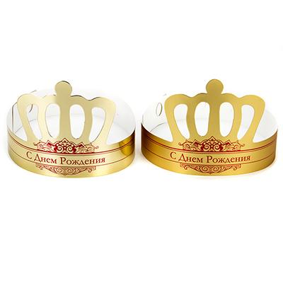 530-162 Корона праздничная, С Днем Рождения, бумага, 18х12,5см, 2 дизайна