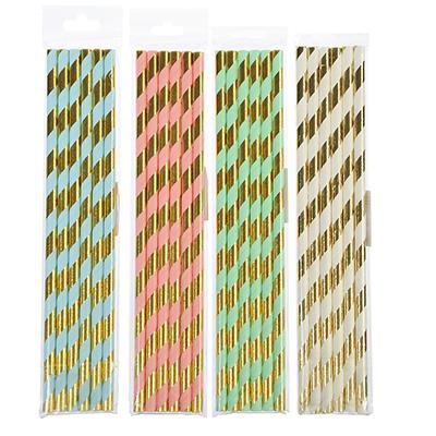 530-171 Набор бумажных трубочек 6шт, 4 цвета, Праздничный