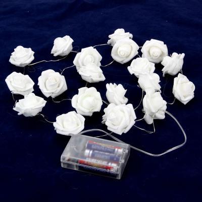 530-178 Гирлянда с цветными розами, пластик, неопрен, 20 лампочек, 3хАА, 200см