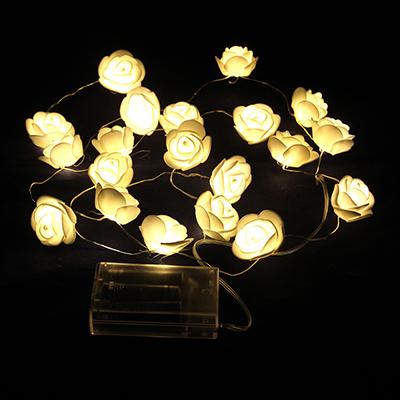 530-179 Гирлянда с розами, пластик, неопрен, 20 лампочек, 3хАА, 200см