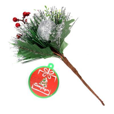353-057 СНОУ БУМ Украшение декоративное, пластик, красные ягоды, глиттер, 5 дизайнов