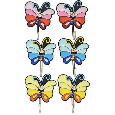 """440-332 ВЕСЕЛЫЙ РОДЖЕР Крючки самоклеящиеся на блистере, 2 шт, резина, металл, """"Бабочки"""", 3 цвета"""