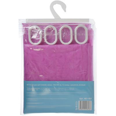 461-464 VETTA Шторка для ванной, винил, 180x180см, 12 колец, с рисунком, розовый