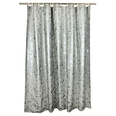 461-468 VETTA Шторка для ванной, винил, 180x180см, 12 колец, с рисунком цветов, серый