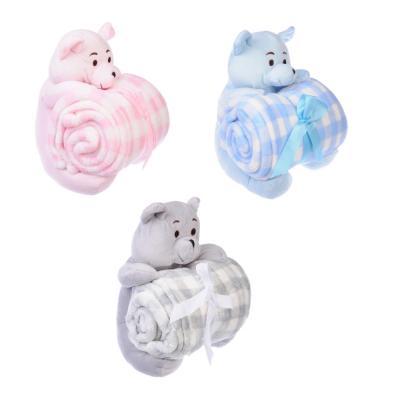 486-053 Плед микрофибра детский с игрушкой, 75х100см, 3 цвета