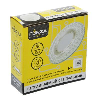 417-056 FORZA Светильник встраиваемый №12 лампа MR16 цоколь GU 5.3 стекло с подсветкой d90мм, узор