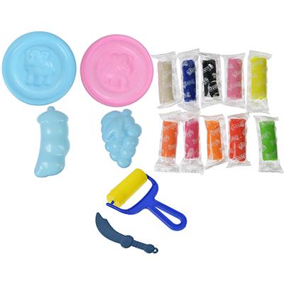 289-112 ХОББИХИТ Набор теста для лепки, 10 цветов по 6г + пластик 3 предмета, 2 цвета