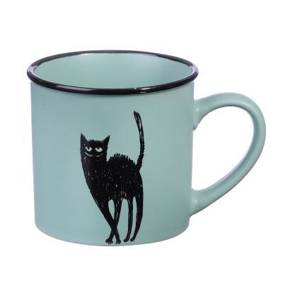 """824-906 Кружка керамическая, 320 мл, 4 цвета, """"Черный кот"""""""