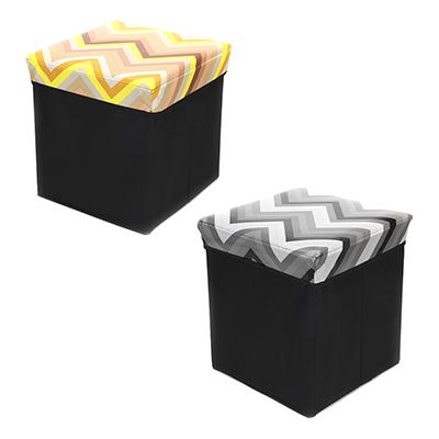465-188 Пуфик-куб складной, ПУ, спанбонд, картон, 31х31х31см, до 80 кг, Геометрия 2 дизайна
