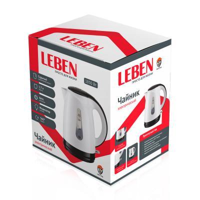 291-028 Чайник электрический 1,7 л LEBEN, 1850 Вт, пластик, белый/черный