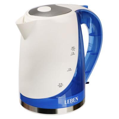 291-029 Чайник электрический 1,7 л LEBEN, 1850 Вт, пластик, белый/синий