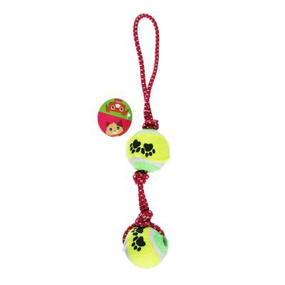 """183-038 Игрушка для собак """"Канат с мячами"""" d4,5смх31см"""