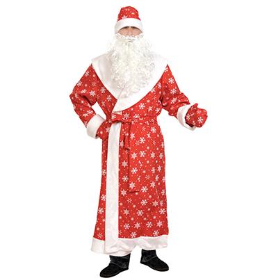 "388-053 Костюм карнавальный шуба, шапка, варежки, борода, пояс, ткань-плюш, р-р XL/56-58/188, ""Дед Мороз"""