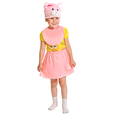 """389-129 Костюм карнавальный 3-5 лет, рост 92-116 см, плюш, """"Кошечка розовая"""""""