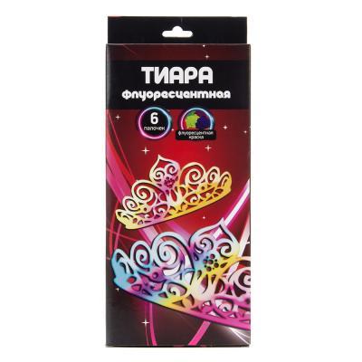 530-184 Тиара флуоресцентная, 27x10см, 6 палочек, пластик, флуоресцентная краска