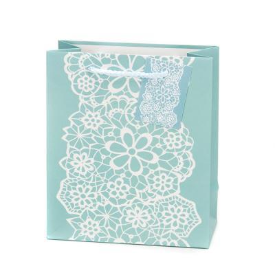 507-823 Пакет бумажный подарочный с кружевами, 18х21х8,5см, 4 дизайна, высококачественная бумага, арт.2006