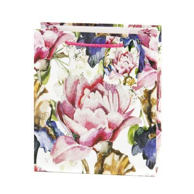 507-825 Пакет бумажный подарочный с цветочным узором, 18х21х8,5см, 4 дизайна, арт.2006