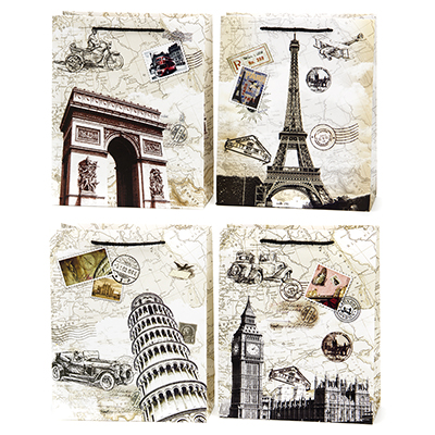507-833 Пакет бумажный подарочный Города, 26х32х12см, 4 дизайна, высококачественная бумага, арт.2006