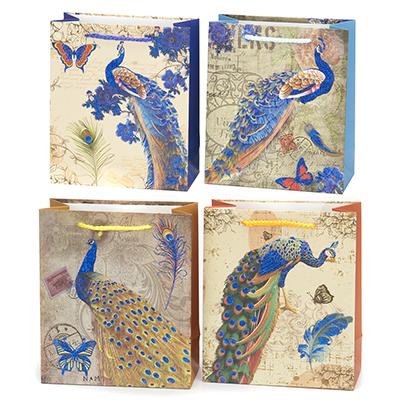 507-838 Пакет бумажный подарочный с павлинами, 18х21х8,5см, 4 дизайна, высококачественная бумага, арт.2006