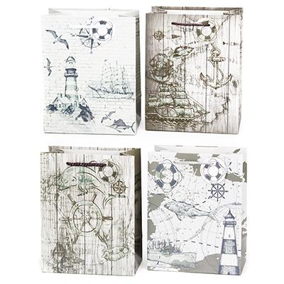 507-839 Пакет бумажный подарочный Морская тематика, 18х23х10см, 4 диз, высококачественная бумага, арт.2006