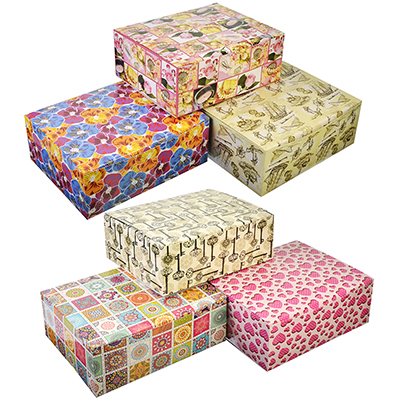 507-846 Коробка подарочная, складная, бумага, 21х26х10см, 6 дизайнов ГЦ, арт.06