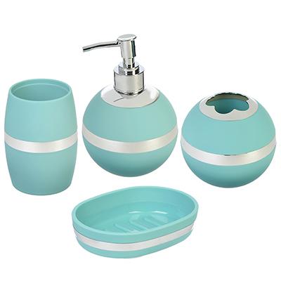 463-836 Набор для ванной 4 пр., пластик, бирюзовый