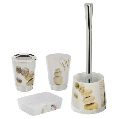 463-842 Набор для ванной 4 пр. (стакан, стакан под щетки, ершик, мыльница), пластик, 2 дизайна