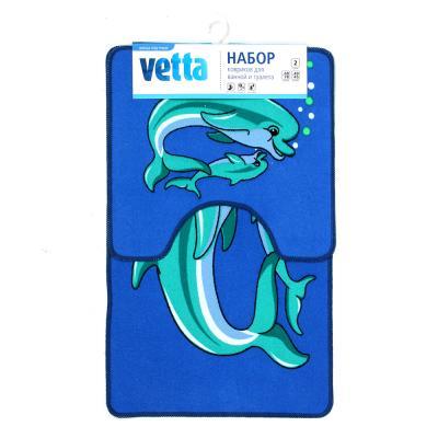 462-634 VETTA Набор ковриков 2шт для ванной и туалета, полиэстер, 48x78см + 48x45см, 2 дизайна