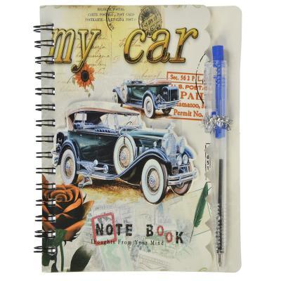 574-001 Записная книжка с ручкой 10,5х14см 35л., обл.картон, спираль, аппликация, в клетку, 6 дизайнов