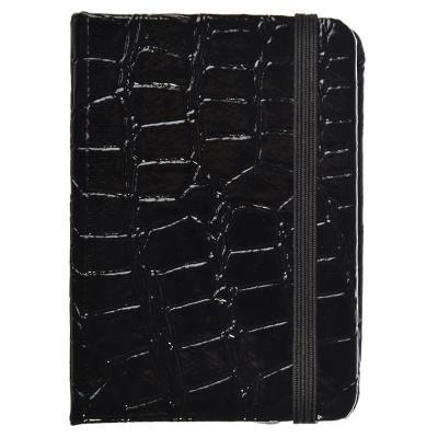 576-001 Записная книжка А7 80л., тв.обложка, резинка, закладка, ПУ под кожу крокодила, бумага, 4 цвета