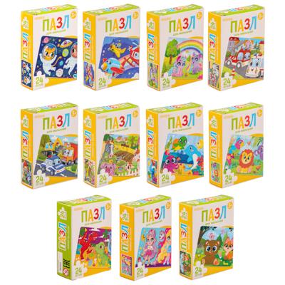 290-191 ОРИГАМИ Пазл 24 детали Мультфильмы, картон, 18х13см, 8-16 дизайнов