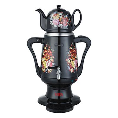 286-023 LEBEN Самовар электрический с заварочным чайником 3,5л/1л, 1800Вт, металл/керамика, черный с узором