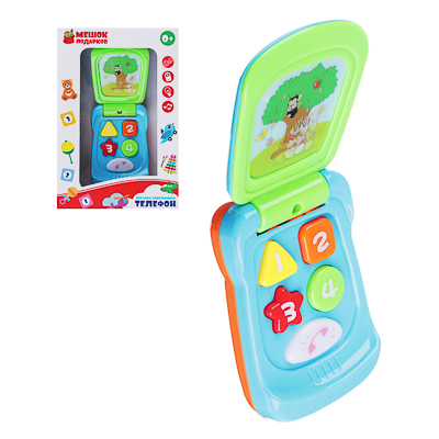 262-389 МЕШОК ПОДАРКОВ Игрушка электронная Телефон, свет, звук, пластик, 2хAG13, 9.5х6х3,5см, 2 дизайна