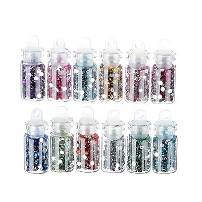 357-139 Декор для дизайна ногтей в баночках в виде страз, 12шт, разноцветные