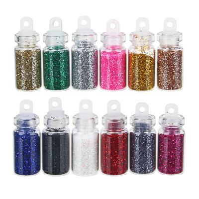 """357-142 ЮниLook Декор для дизайна ногтей в баночках """"Блёстки"""", 12шт, разноцветные"""