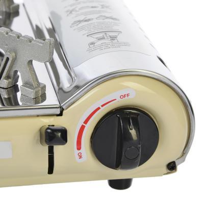 635-041 ЕРМАК Газовая плита Компакт, нерж.сталь, пьезо, под цанговый баллон, 2,1 кВт, кейс, прогрев топлива
