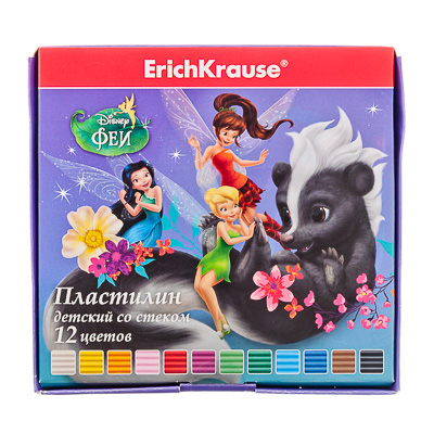"""239-003 Erich Krause Пластилин 12 цветов 216г. в картон. уп., со стеком """"Феи и невиданный зверь"""", 37993"""