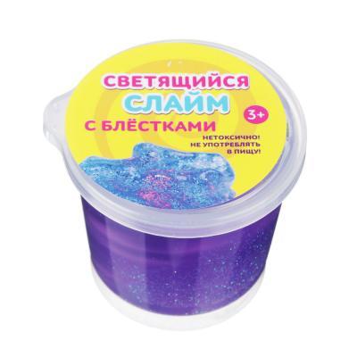 218-013 Слайм блестящий со светящимся шаром, полимер, 80 гр.