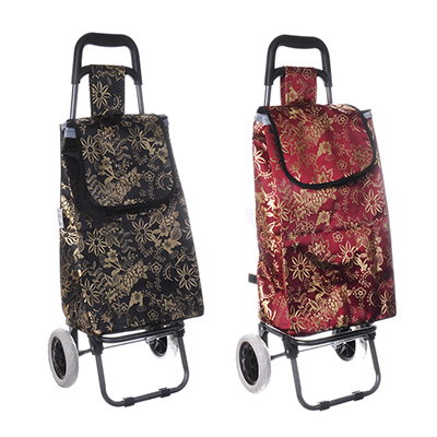 467-179 Тележка + сумка, грузоподъемность до 30кг, брезент, 36х28х91см(сумка 33x22x55см) Цветы, 2 цвета