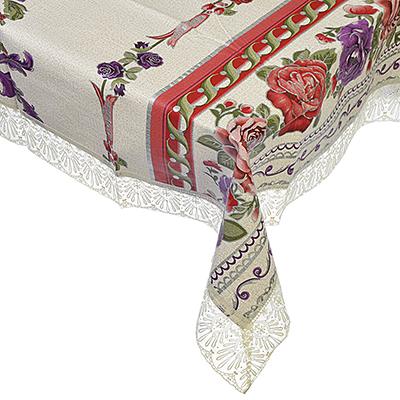 479-213 Скатерть на стол виниловая клеенка тиснёная с ажурной каймой VETTA 137х137см