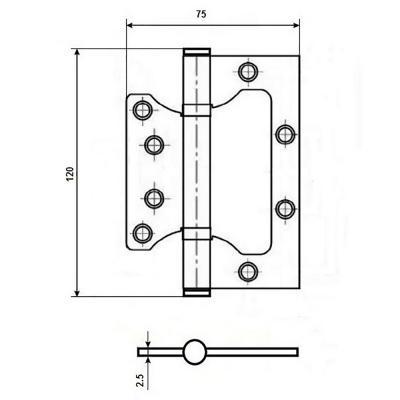 620-209 KORAL Петля накладная (БЕЗ ВРЕЗКИ) 5x3x2,5 ab,бронза